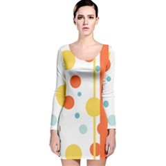 Stripes Dots Line Circle Vertical Yellow Red Blue Polka Long Sleeve Velvet Bodycon Dress