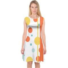 Stripes Dots Line Circle Vertical Yellow Red Blue Polka Capsleeve Midi Dress