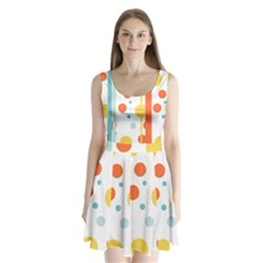 Stripes Dots Line Circle Vertical Yellow Red Blue Polka Split Back Mini Dress