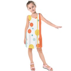 Stripes Dots Line Circle Vertical Yellow Red Blue Polka Kids  Sleeveless Dress by Mariart