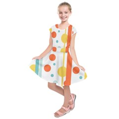 Stripes Dots Line Circle Vertical Yellow Red Blue Polka Kids  Short Sleeve Dress