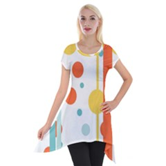 Stripes Dots Line Circle Vertical Yellow Red Blue Polka Short Sleeve Side Drop Tunic