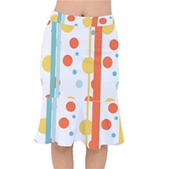 Stripes Dots Line Circle Vertical Yellow Red Blue Polka Mermaid Skirt