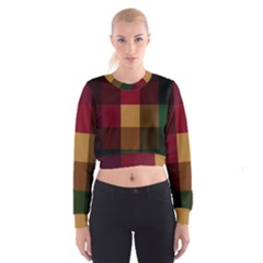 Stripes Plaid Color Cropped Sweatshirt by Mariart