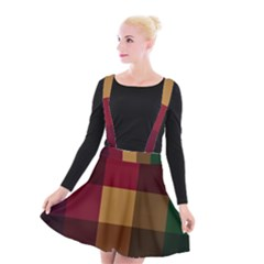 Stripes Plaid Color Suspender Skater Skirt