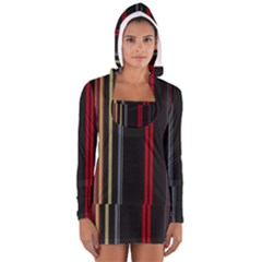 Stripes Line Black Red Women s Long Sleeve Hooded T-shirt by Mariart