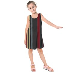 Stripes Line Black Red Kids  Sleeveless Dress by Mariart
