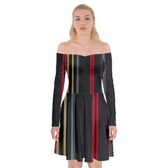 Stripes Line Black Red Off Shoulder Skater Dress