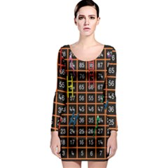 Snakes Ladders Game Plaid Number Long Sleeve Bodycon Dress by Mariart