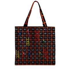 Snakes Ladders Game Plaid Number Zipper Grocery Tote Bag by Mariart