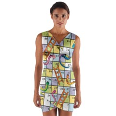 Snakes Ladders Game Board Wrap Front Bodycon Dress by Mariart