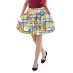 Snakes Ladders Game Board A Line Pocket Skirt by Mariart