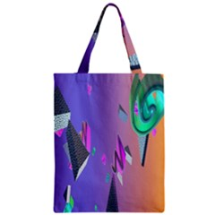 Triangle Wave Rainbow Zipper Classic Tote Bag by Mariart