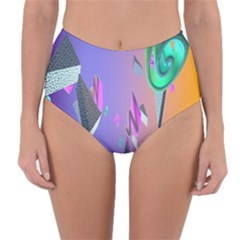 Triangle Wave Rainbow Reversible High Waist Bikini Bottoms by Mariart