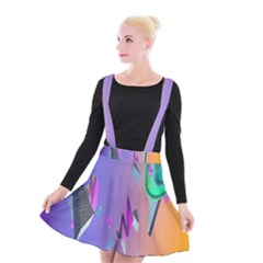 Triangle Wave Rainbow Suspender Skater Skirt by Mariart