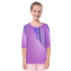 Verre Bleu Wave Chevron Waves Purple Kids  Quarter Sleeve Raglan Tee by Mariart