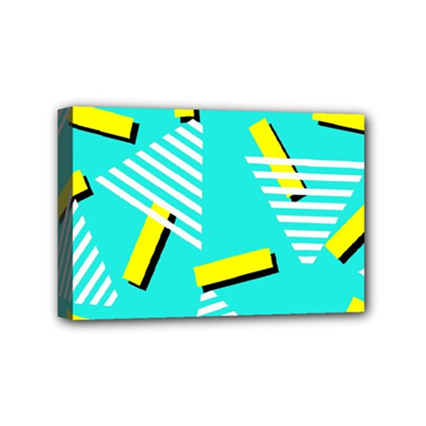 Vintage Unique Graphics Memphis Style Geometric Triangle Line Cube Yellow Green Blue Mini Canvas 6  X 4  by Mariart