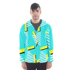 Vintage Unique Graphics Memphis Style Geometric Triangle Line Cube Yellow Green Blue Hooded Wind Breaker (men) by Mariart