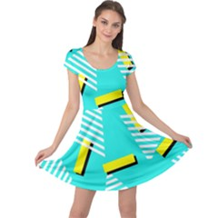 Vintage Unique Graphics Memphis Style Geometric Triangle Line Cube Yellow Green Blue Cap Sleeve Dresses by Mariart
