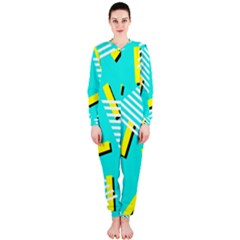 Vintage Unique Graphics Memphis Style Geometric Triangle Line Cube Yellow Green Blue Onepiece Jumpsuit (ladies)