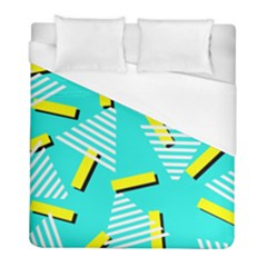 Vintage Unique Graphics Memphis Style Geometric Triangle Line Cube Yellow Green Blue Duvet Cover (full/ Double Size) by Mariart