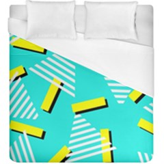Vintage Unique Graphics Memphis Style Geometric Triangle Line Cube Yellow Green Blue Duvet Cover (king Size) by Mariart