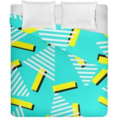 Vintage Unique Graphics Memphis Style Geometric Triangle Line Cube Yellow Green Blue Duvet Cover Double Side (california King Size) by Mariart