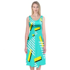 Vintage Unique Graphics Memphis Style Geometric Triangle Line Cube Yellow Green Blue Midi Sleeveless Dress by Mariart