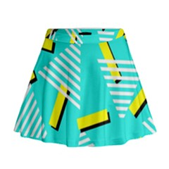 Vintage Unique Graphics Memphis Style Geometric Triangle Line Cube Yellow Green Blue Mini Flare Skirt