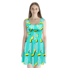 Vintage Unique Graphics Memphis Style Geometric Triangle Line Cube Yellow Green Blue Split Back Mini Dress  by Mariart