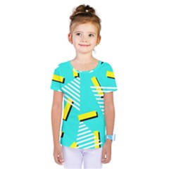 Vintage Unique Graphics Memphis Style Geometric Triangle Line Cube Yellow Green Blue Kids  One Piece Tee