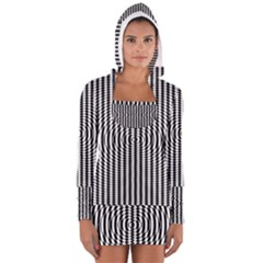 Vertical Lines Waves Wave Chevron Small Black Women s Long Sleeve Hooded T-shirt by Mariart