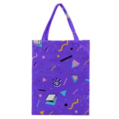 Vintage Unique Graphics Memphis Style Geometric Style Pattern Grapic Triangle Big Eye Purple Blue Classic Tote Bag by Mariart