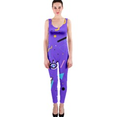 Vintage Unique Graphics Memphis Style Geometric Style Pattern Grapic Triangle Big Eye Purple Blue Onepiece Catsuit