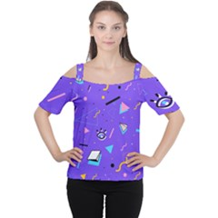 Vintage Unique Graphics Memphis Style Geometric Style Pattern Grapic Triangle Big Eye Purple Blue Women s Cutout Shoulder Tee by Mariart