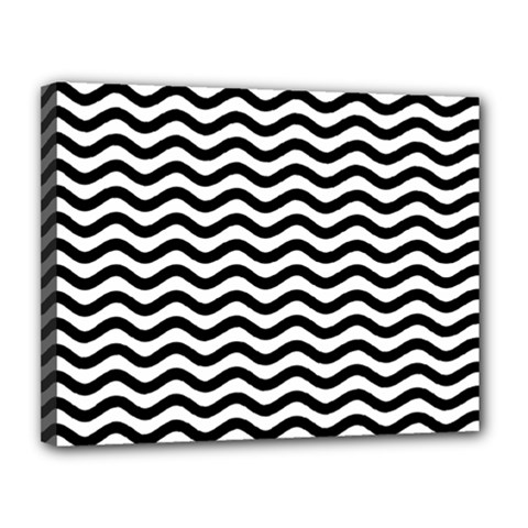 Waves Stripes Triangles Wave Chevron Black Canvas 14  X 11