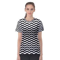 Waves Stripes Triangles Wave Chevron Black Women s Sport Mesh Tee