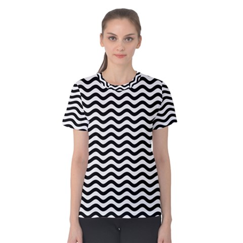 Waves Stripes Triangles Wave Chevron Black Women s Cotton Tee by Mariart