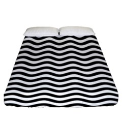 Waves Stripes Triangles Wave Chevron Black Fitted Sheet (king Size) by Mariart