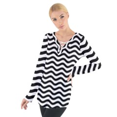 Waves Stripes Triangles Wave Chevron Black Women s Tie Up Tee by Mariart