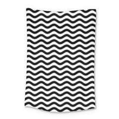 Waves Stripes Triangles Wave Chevron Black Small Tapestry by Mariart