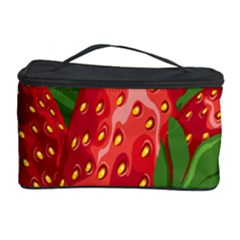 Strawberry Red Seed Leaf Green Cosmetic Storage Case by Mariart