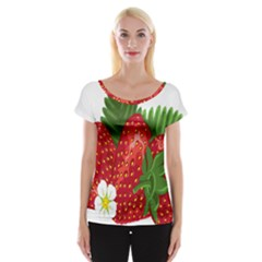 Strawberry Red Seed Leaf Green Cap Sleeve Tops
