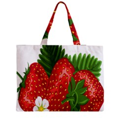 Strawberry Red Seed Leaf Green Medium Zipper Tote Bag by Mariart
