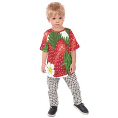 Strawberry Red Seed Leaf Green Kids Raglan Tee by Mariart