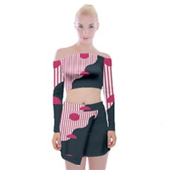 Waves Line Polka Dots Vertical Black Pink Off Shoulder Top With Skirt Set by Mariart