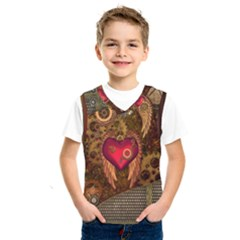 Steampunk Golden Design, Heart With Wings, Clocks And Gears Kids  Sportswear by FantasyWorld7