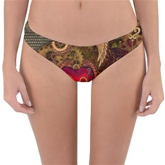 Steampunk Golden Design, Heart With Wings, Clocks And Gears Reversible Hipster Bikini Bottoms