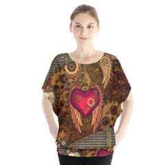 Steampunk Golden Design, Heart With Wings, Clocks And Gears Blouse by FantasyWorld7