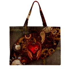 Steampunk Golden Design, Heart With Wings, Clocks And Gears Zipper Mini Tote Bag by FantasyWorld7